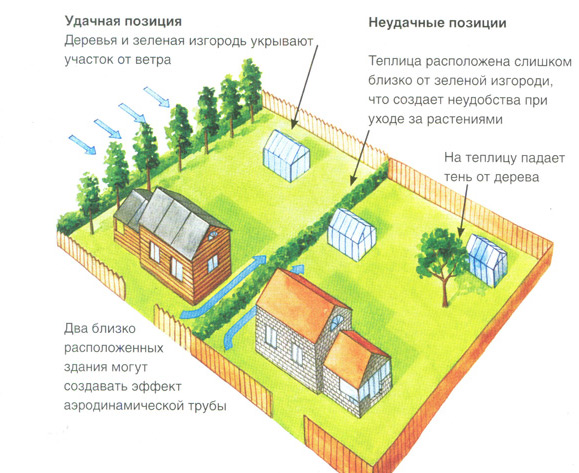 Схема правильного и неправильного расположения теплицы на участке