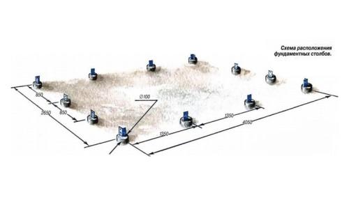 Схема расположения фундаментных столбов арочной теплицы