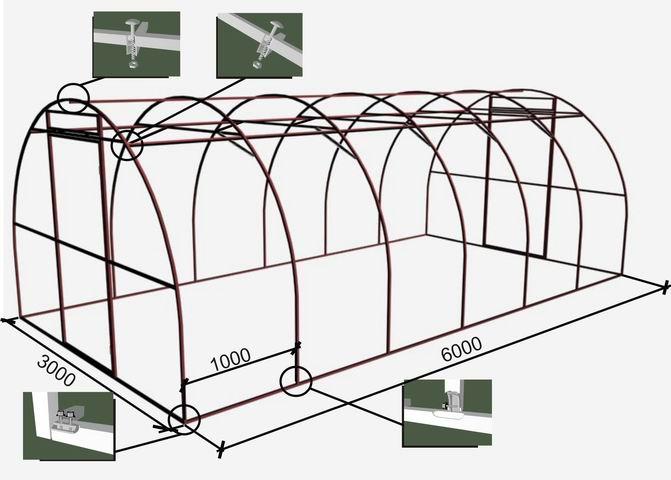 Схема сборки арочной теплицы