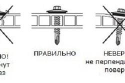 Схема установки саморезов