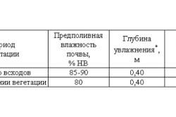 Таблица режимов капельного орошения редиса