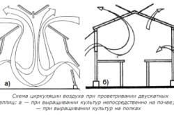 Схема циркуляции воздуха при проветривании двускатных теплиц