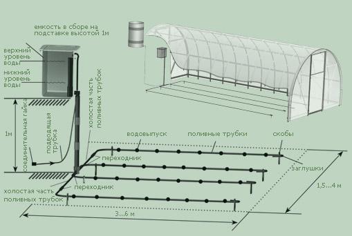 Система капельного полива в теплице.