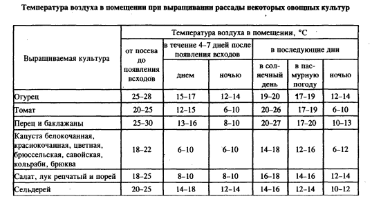 Таблица выращивания рассады