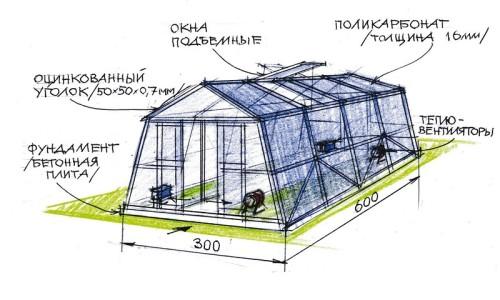 Схема устройства отапливаемой теплицы для клубники