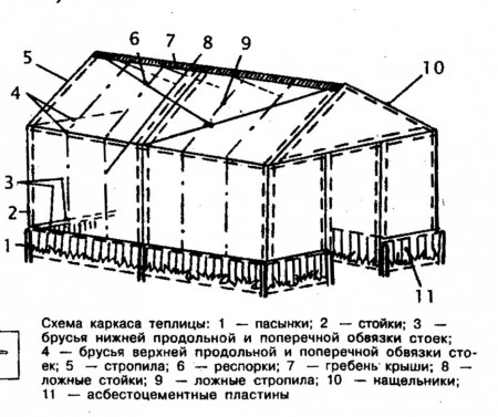 Схема каркаса теплицы