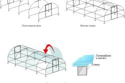 Схема монтажа поликарбоната на теплицу.