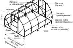 Схема устройства каркаса теплицы из поликарбоната.