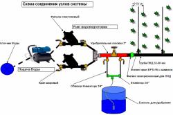 Схема соединения узлов системы капельного полива.