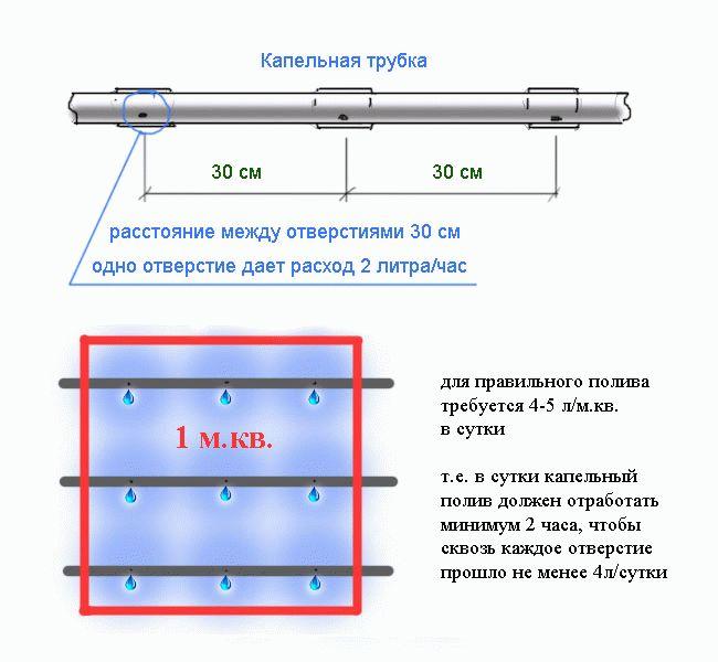 Схема капельной трубки